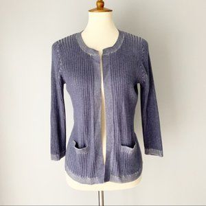 Chico's Blue Ribbed Open Front Cardigan